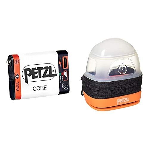 Petzl E99ACA, Batería Recargable Compatible con Linterna Hybird Petzl, Blanco + -Noctilight, Negro/Naranja