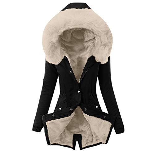 Auifor Damen Winterjacke, Warme Mantel mit Kapuze Plus Samt Wintermantel Lange Jacke Winter Coat Schlanke Outwear Mantel Winterparka Steppjacke Outdoor Kapuzenjacke(E-Beige,Large)