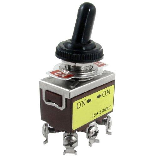 Kuinayouyi AC 250V 15A on/on Interruptor de palanca DPDT de 2 posiciones con bota impermeable