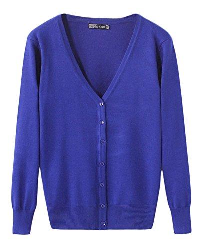 Classic Pink Donna Corta Cardigan Maniche Lunghe Scialle Slim Shawl Small Jacket Blu Scuro M