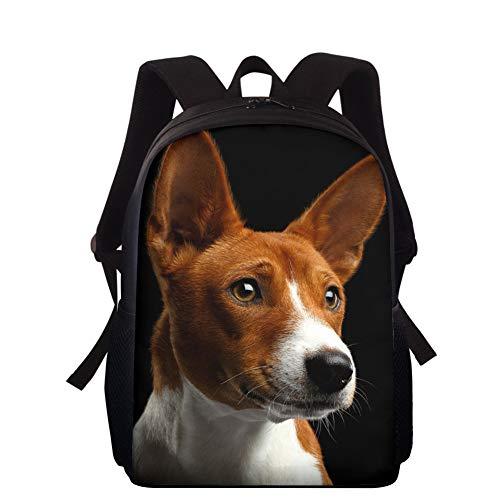 Upetstory Basenji Dog Backpack for School Kids Boys Girls Shoulder Bag Rucksack with Water Bottle Holder Durable Bookbag Black Best for Gift 15 inch
