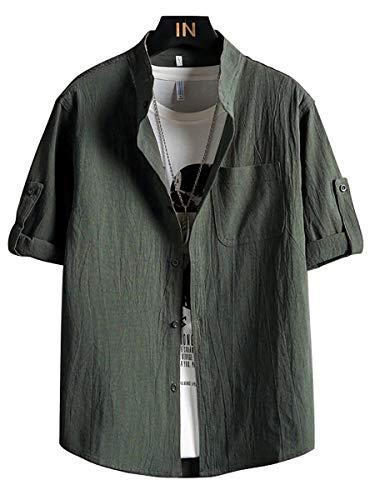 リネンシャツ メンズ 半袖 夏服 メンズ 麻シャツ 無地 立つ襟 ドロップショルダー おしゃれ カジュアル 大きいサイズ 军绿 2XL