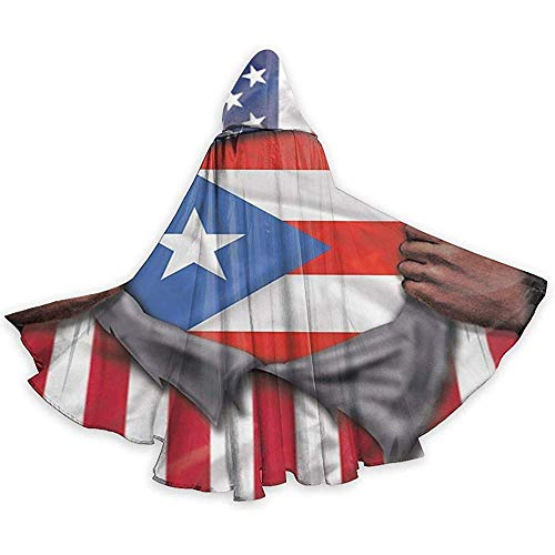 Role Play Dress Up,Mannen Womens Lengte Mantels, Volwassene Hooded Mantel, Wizard Cape, Puerto Rico Vlag Amerikaanse Vlag Ripped Cloak Cape, Party Cosplay Costume, Halloween Capuchon Mantels