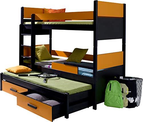 FurnitureByJDM - Triple stapelbed - AUGUSTO - Massief, natuurlijk grenen hout met matrassen en opberglades - (Wengé / Oranje)