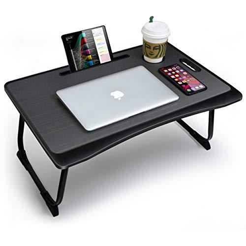CHAIRLIN Opvouwbare laptoptafel, notebooktafel, laptoptafel, bedtafel met kaartsleuven en bekerslots, laptopstandaard, notebookstandaard, computerstandaard, ontbijtdienblad, notebookhouder