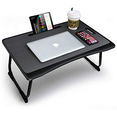 CHAIRLIN Large Portable Bed Tray, Foldable Leg Multifunction Breakfast Tray Laptop Standing Desk Work from Home Lap Table for Sofa Couch, Notebook Stand Reading Holder for Working and Writing