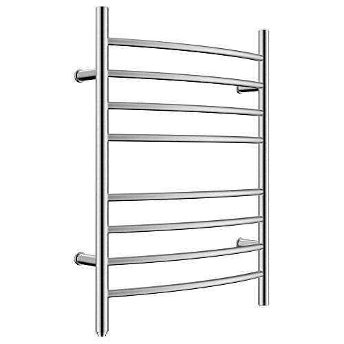 HEATGENE Towel Warmer 8 Bar Plug-in Curved Bath Towel Heater Towel Warmer for Bathroom Plug-in Drying Rack Brushed