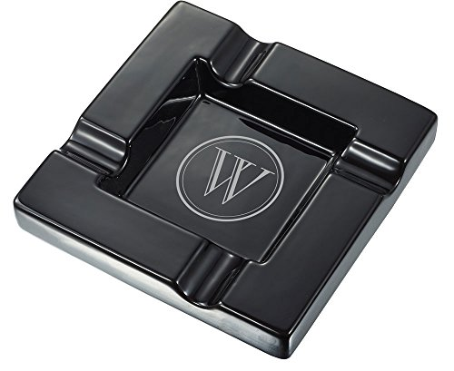 Visol Renner Black Ceramic Cigar Ashtray with Personalized Laser Engraving of Initial