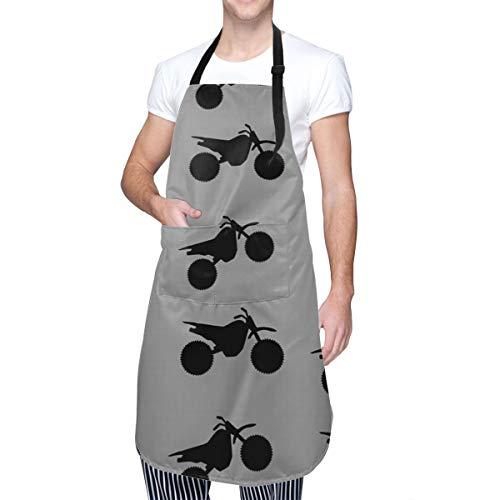 Dirt Bike Black On Grey Waterproof Apron for Women Men Work Cloth with 2 Pockets Adjustable Bib Butcher Apron Best for Gardening, Painting, BBQ, Kitchen