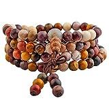Mookaite Stone 6mm Buddhist Buda meditación 108 Pulsera de la perla de oración Mala / collar