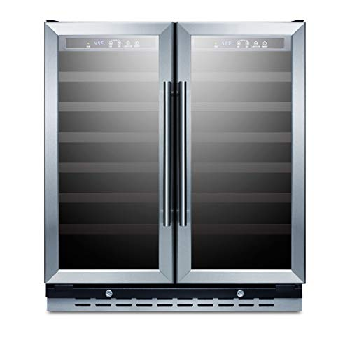 Summit Appliance SWC3066B Commercially Approved 30' Wide Built-in Undercounter Dual Zone Wine Cellar with Seamless Stainless Steel Trimmed Glass French Doors, Locks, and Digital Thermostat