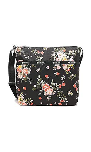 LeSportsac Garden Rose Small Cleo Crossbody Handbag, Style 7562/Color F632, Modern Multi-color Roses on Classic Black Bag