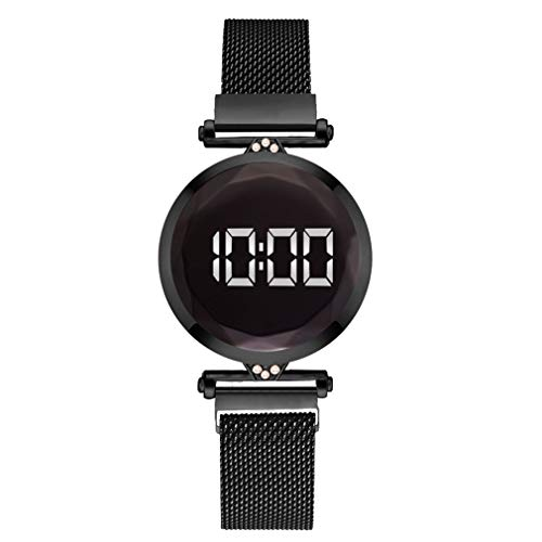 WXZQ Práctico Lujo Led Mujeres Pulsera magnética Relojes Reloj de Vestir Digital Reloj de Pulsera de Cuarzo Reloj de Mujer Negro