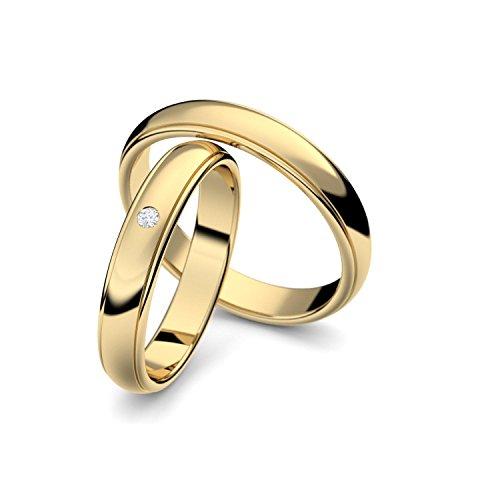 Eheringe Trauringe Gold Set AMOONIC mit Zirkonia Freundschaftsringe Paarpreis Verlobungsringe Partnerringe Silber hochwertig vergoldet Ringpaar Hochzeitsringe Eheringe Luxusetui ER88VGGGZIFA-5060