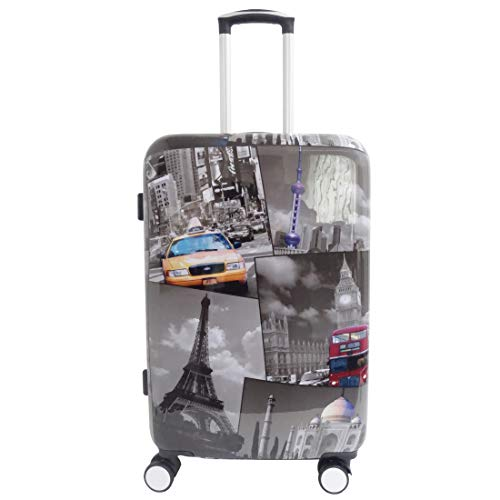 5 Cities Hard Shell Travel Trolley Hold Check in Luggage Suitcase with 4 Wheels (Medium)