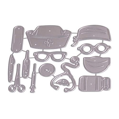 Tvvudwxx Stanzformen - Arzt Und Krankenschwester, Stanzmaschine Schablonen Metall Prägeschablone Für DIY Scrapbooking, Album, Papier Karte Dekor