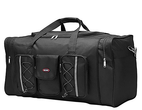 FakeFace BXT Extra Large Heavy Duty Hand Luggage GYM Sports Shoulder Duffle Bag Travel Holiday Holdall Waterproof, 65x35x30 CM, Black