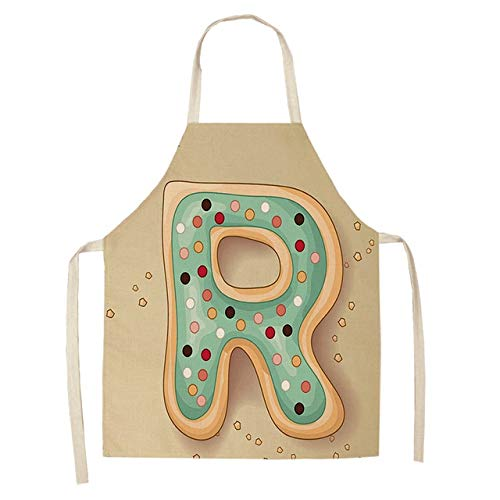 ZZXGWQ Schort 1 stuk brief patroon keukenschort mouwloos katoen linnen kinderschorten voor koken bakken BBQ reinigingsgereedschap 53 * 65 cm R