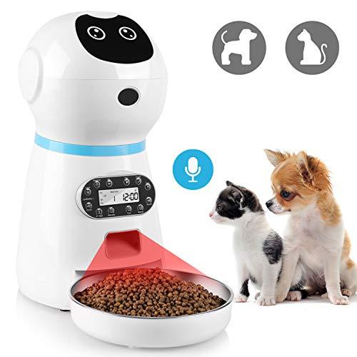 pedy Comedero Automático Gatos/Perros Dispensador de Comida, Alimentador Automático de Mascotas, con Temporizador, Pantalla LCD, Grabación de Voz, Detección de Infrarrojos, 3.5L