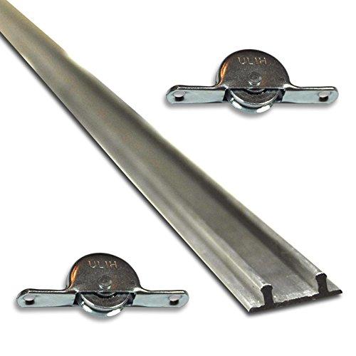 Set: 1 Doppelbodenschiene 1,93m Aluminium + 2 Laufrollen ***Doppelschiene Möbelschiene Laufschiene Bodenschiene***