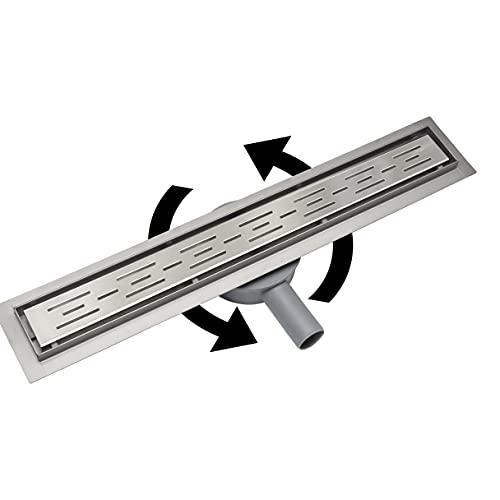 Acezanble - Canaleta de ducha de acero inoxidable sifón de 360°de desagüe para cuarto de baño rectangular 2 en 1 para azulejo en modelo Líneas 60 cm