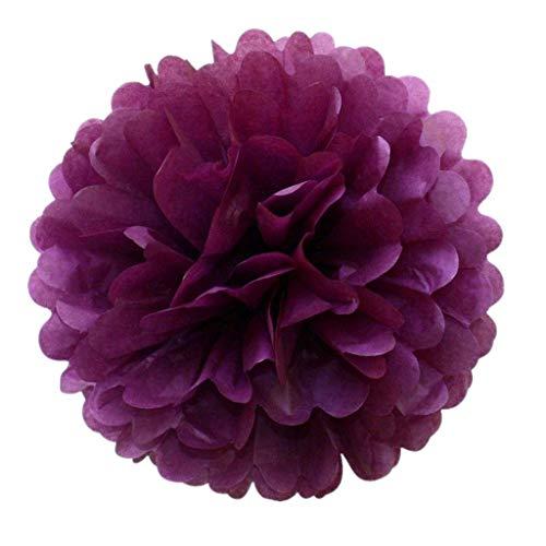 JZK 10 x Pompoms Pompons, 25cm Durchmesser, Seidenpapier Blume Deko für Wohnzimmer Hochzeit Geburtstag Babyparty Kinder Party Weihnachten Silvester (Pflaume lila)