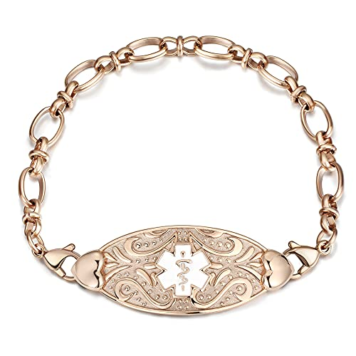 MunsteryAid Customized Medical Alert ID Chain Bracelet with Free Engraving for Women,Personalized Emergency Identification Bracelet Medical Alert ID Jewelry,6.0 to 8.5 Inches (7.5, Rose Golden Color with White Symbol)
