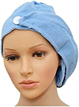 2 PCS Microfiber Bath Bathing Quick Dry Hair Magic Drying Turban Wrap Towel Hat Cap BLUE