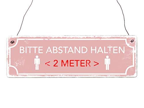 Interluxe houten bord - Houd afstand houden (roze) - bord in shabby stijl als instructiebord voor afstandregeling in winkels, restaurants, bedrijven, praktijken, winkels, shops