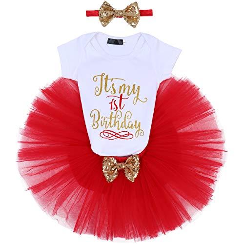 FYMNSI Baby Mädchen 1. Geburtstag Party Outfit Baumwolle Kurzarm Body Strampler Prinzessin Tütü Tüll Rock Pailletten Schleife Stirnband 3tlg Bekleidungsset Fotoshooting Kostüme Rot 1 Jahr