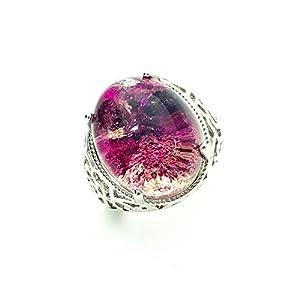 Eastern Coral Lodolite Garden Quartz Statement Ring - Adjustable Ring Band - Silver Plated (Purple)