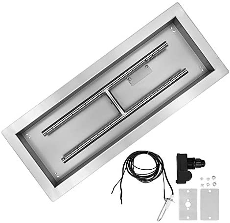 Hisencn 24 Fire Pit Pan Burner Insert Kit 24 inch Drop in Rectangle Propane Gas Table Fireplace product image