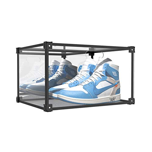 SOGOBOX Clear Acrylic Shoe Box,Sneaker Display case with Mirror,Foldable Stackable Shoe Display Case,As Shoe Box Storage Containers and Plastic Shoe Box, for Display Sneakers,Collectibles - 1 Pack