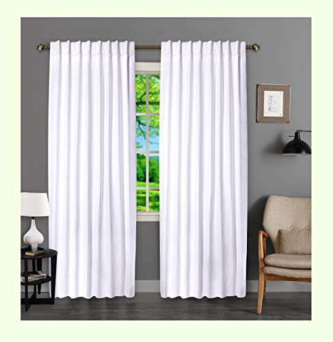 Farmhouse Curtain in Cotton Duck Fabric 50x84 White, Cotton Curtains, 2 Panels Curtain,Tab Top Curtains, Room Darkening Drapes, Curtains for Bedroom, Curtains for Living Room, Set of 2