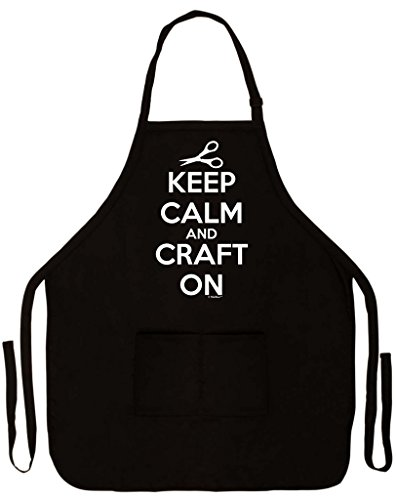 Keep Calm and Craft On Two Pocket Apron Black