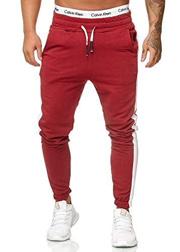 OneRedox Herren Jogging Hose Jogger Streetwear Sporthose Modell 1211 (S, Bordo)