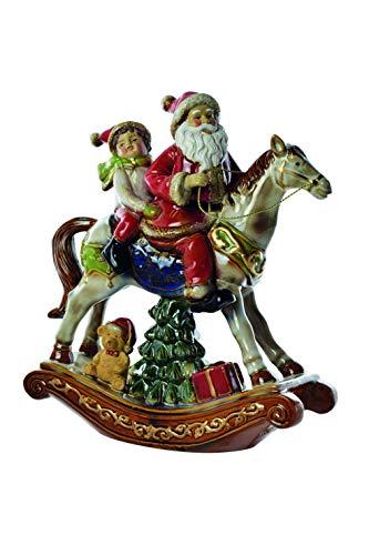 PREZIOSA Luxury Statua Babbo Natale con Bambino su Cavallo a Dondolo 20038