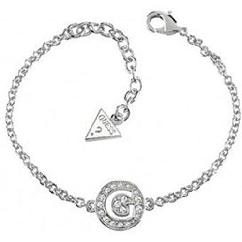 Guess–Pulsera GUESS G Girl en metal plateado con Logo y cristales blancos–Metal plateado–OUI