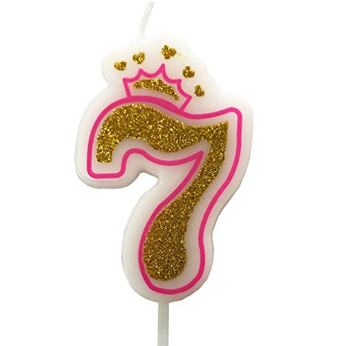 PartyMart Number 7 Giltter Candle, Pink Number 7