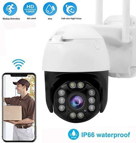 IP Cámara PTZ de Seguridad 1080P, Cámara de vigilancia Exterior, Alarma de Detección de Movimiento, Visión Nocturna Infrarroja IP66 Impermeable