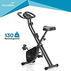 skandika Foldaway X-1000 bike trainer foldable exercise bike, leg and endurance trainer (incl. heart rate monitor, training computer with calorie measurement up to 110kg) (black)