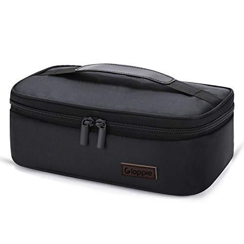 Bolsa de almuerzo para hombres, pequeña caja de almuerzo aislada, mini contenedores térmicos de alimentos, bolsas refrigeradoras portátiles para aperitivos de trabajo, oficina por GLOPPIE, color negro