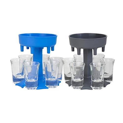 6 Kleiner Glasbecherspender und Halter Weinspender Und Halter Korkenzieher Zum Befüllen Von Flüssigkeiten Schussspender Bar-Schussspender Cocktailspender Grau + Blau