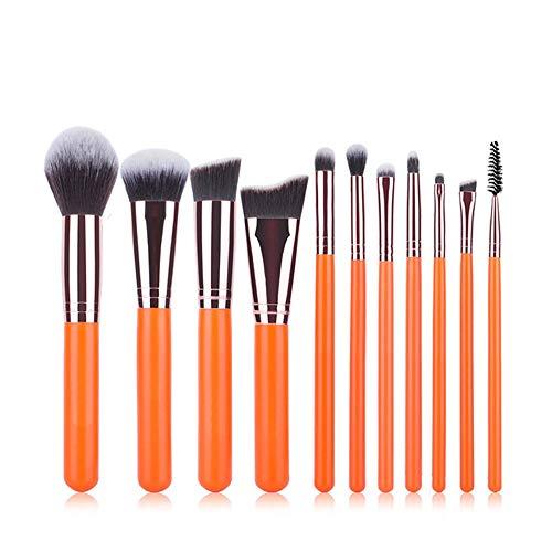 GBY Lot de 11 pinceaux de maquillage orange pour fond de teint, fard à joues, fard à paupières plat Kabuki