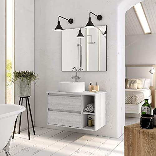 Aquareforma | Mueble de Baño con Lavabo y Espejo | Mueble Baño Modelo Brisol 2 Cajones Suspendido | Muebles de Baño | Diferentes Acabados Color | Varias Medidas (Hibernian, 120 cm)