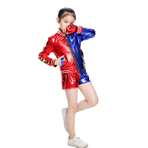Amycute Harley Quinn Cosplay Kostüme für Kinder Mädchen Bösewicht Kostüm Kit beinhaltet Jacke, T-Shirt, Shorts und Handschuh für Halloween Karneval Cosplay