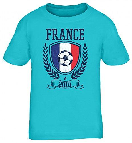 Frankreich Fußball WM Fanfest Gruppen Fan Kinder T-Shirt Rundhals Mädchen Jungen Pokal France 2018, Größe: 122/128,türkis
