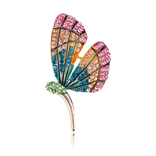 U/N Moda Color Diamante Mariposa Broche Broche Insecto Femenino Traje Ropa de Lana