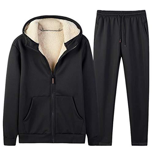 DaoAg - Conjunto de 2 sudaderas con capucha de terciopelo sólido para hombre, para otoño e invierno, para hombre, pantalones deportivos, traje de béisbol,...