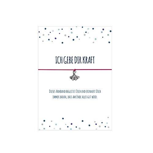 Glücksschmiedin Kraft Armband mit Ginko Blatt Anhänger versilbert, mit elastischem Textilband in pink und liebevoller Karte: …DASS am Ende Alles Gut Wird.